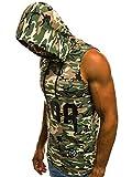 OZONEE Mix Herren Tanktop Tank Top Tankshirt T-Shirt Unterhemden Ärmellos Muskelshirt Kapuze MAD/2563 GRÜN-CAMO L