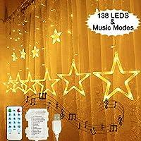 138 LEDs Luces de Cortina de Estrella, Hezbjiti Estrella Guirnalda de Luces de Cadena Estrelladas con Función de Ritmo Musical, Mando a Distancia Para Exteriores/Xmas/Party (Blanco Cálido)