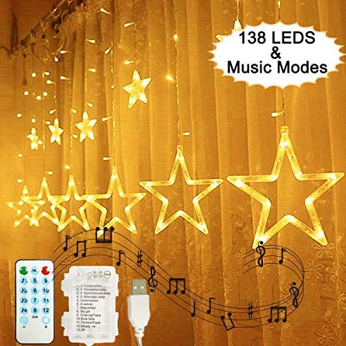 138 led tenda stelle luci stelline, hezbjiti finestra fiabesca luminosa stelle luci natale con funzione di ritmo musicale, telecomando per esterni/natale/party (bianco caldo)