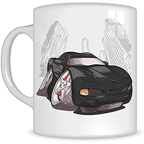 Regalos de Koolart k3274-mg dibujos animados de Chevrolet Corvette C5–Caricatura Negro Chevrolet para hombre de regalo de taza (tazas de)