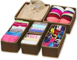 #7: House of Quirk 6 Pieces Non-Woven Foldable Cloth Storage Box, Brown