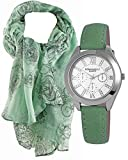 Mädchen Uhr im Geschenk-Set mit grünem Schal. Hochwertige Quartz- Armbanduhr im Chronolook