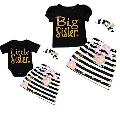 Haokaini Große kleine Schwestern Familie Macthing Romper Rock Stirnband Set, Casual Stripes Outfits Kleidung (Color : Big Sister, Size : 1-2t) (Santa Hut Big)