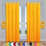 Dekoschal Ösen Ellen 2er Pack inkl. Raffhalter & Raffhaken, Auswahl: Größe 140 x 225 cm, Farbe: Hellorange - Marigold