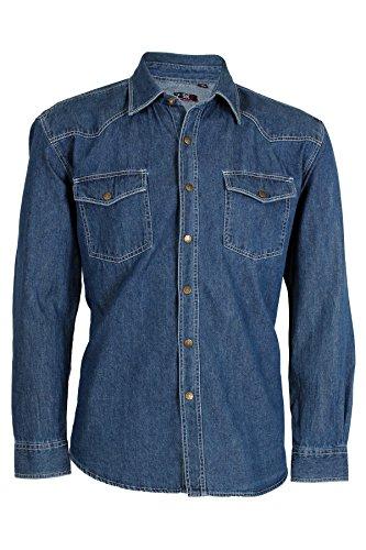Camicia jeans classica silver wash, xl-43/44