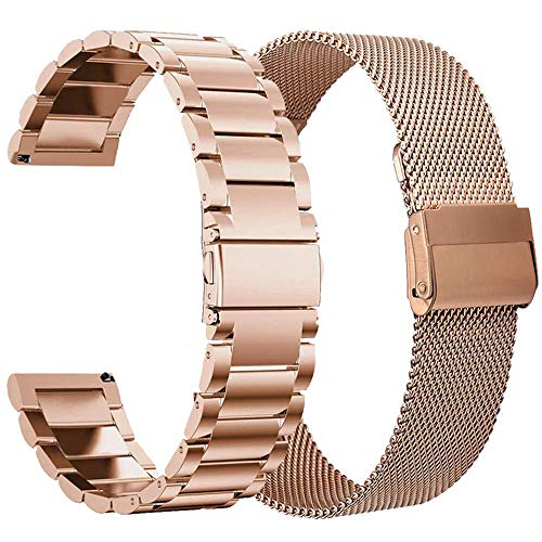 VIGOSS Kompatible Für Samsung Galaxy Watch Active 40mm Armband Rose Gold Metall Edelstahlarmband Männer Ersatz Armband Für Samsung Galaxy Watch Active 40mm Smartwatch (Metall + Mesh, Rosegold) Galaxy Metall