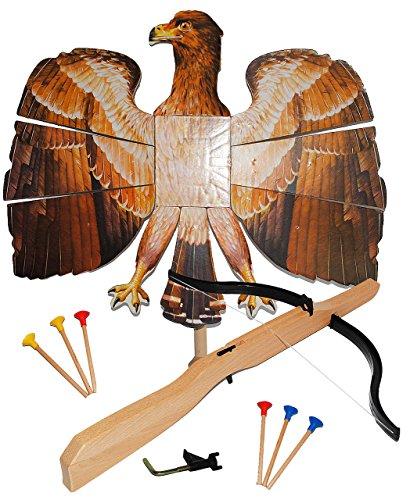 alles-meine.de GmbH Set : Vogelschießen - Bogenschießen - Vogel Adler - braun Natur 49 cm * 46 cm + Armbrust