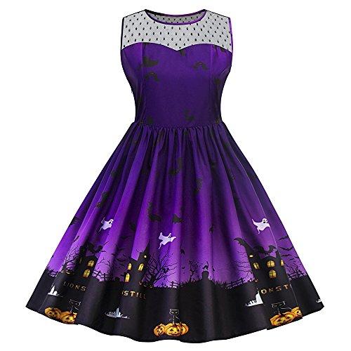 n Lace Vintage Retro Cocktail Abschlussball Kleider 50er 60er Rockabilly Dress?Violett 46? (Halloween Kleid Frauen)