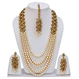 SADHANA COLLECTION Gold Traditional Kundan Pearl Necklace Set with Earrings for Wom