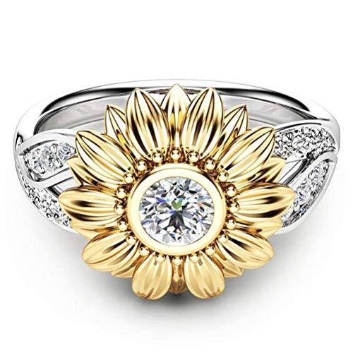 YunYoud Exquisite Frauen zwei Ton Silber Floral Ring Runde Diamant Gold Sunflower Jewel Vergoldet Schnitt Sparking Zirkonia Einstellbare Jewels Damen-Ring Herbst Winter Kollektion