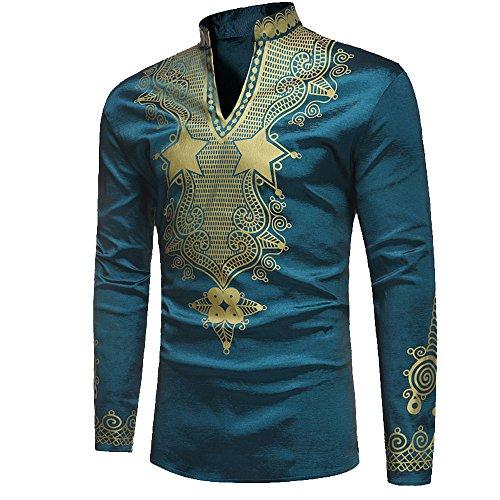 Rera Herren Sommer Langarm Hemd mit Stehkragen Dashiki Gedruckt afrikanisch Stil Tribal Hemd Traditionelle Beiläufige Bluse (Dashiki Kostüm)