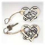2 Stück Schlüsselanhänger Herz Ringe mit Namen I Ideale Holz Geschenke für Freundin Freund Mann Frau Partner