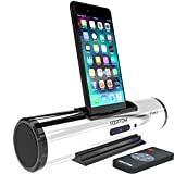 AZATOM iFlute 2 Docking station speaker with 8pin Lightning for iPhone X, 8, 8plus, 7, 7plus, 6s, 6plus, 5s, 5c, 5, SE - iPod Touch 5,6,7 - Remote Control - Unique Design - Rich Sound (Silver)
