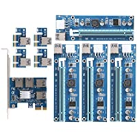 Hillrong PCI-e a 4 USB 3.0 convertidor Tarjeta Dual PCI-e Ranura 6 Pin Adaptador Tarjeta