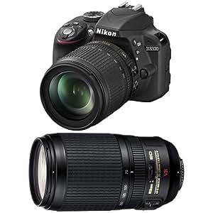 Nikon D3300 + 18-105 VR + 70-300 VR Kit d'appareil-photo SLR 24.2MP CMOS 6000 x 4000pixels Noir - Appareils photos numériques (24,2 MP, 6000 x 4000 pixels, CMOS, Full HD, 410 g, Noir)
