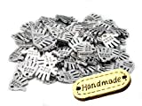 50 Stück Hand Made Metall Knopf Label Anhänger Hand Schild Charm zum annähen, incl. 1 Stück Holzlabel Hand Made