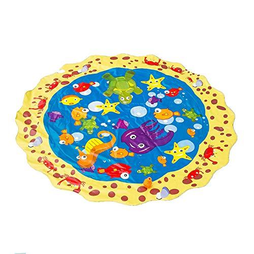 FBGood 100cm Kinder Spaß Splash Pad, Sommer Karikatur Tier Wasser Sprinkle Matte Garten Wasserspielzeug Baby Pool Pad Baby Party Sprinkler Spielmatte für Familie Aktivitäten/Outdoor/Strand -