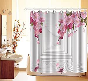 lb 180x180cm polyester stoff bad vorh nge mit 12 haken wasserdicht rosa blumen korridor. Black Bedroom Furniture Sets. Home Design Ideas