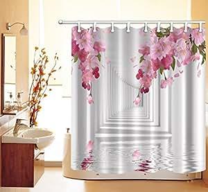 lb 180x180cm polyester stoff bad vorh nge mit 12 haken wasserdicht rosa blumen korridor. Black Bedroom Furniture Sets. Home Design Ideas