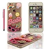 iPhone 6S Schwer Hülle, Barbie Stil Entwurf Fließfähige Bunt Pulver / Flüssigkeit Mädchen Stil Schutzhülle Case Cover für Apple iPhone 6 / 6S 4.7 inch Transparent Case mit Stylus-Stift