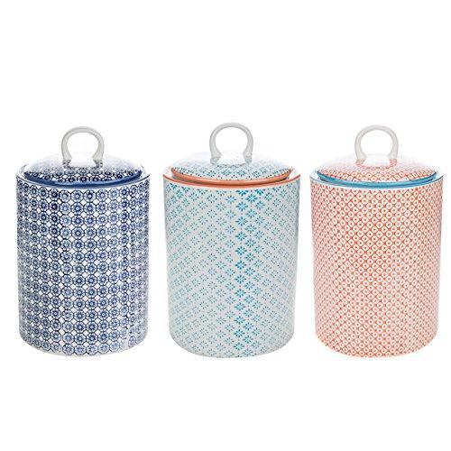 Nicola Frühling Porzellan Keks Barrel Jar Multi - Blau Blumen / Blau / Orange - 3er Set
