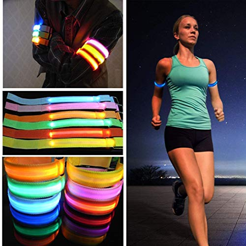 Voiks LED Armband,Glow Bracelet Safety Light-Up Sports Wristband Ankle Reflective Strips with...