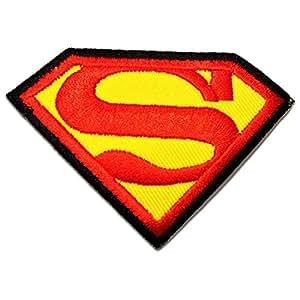 Superman Logo Comic Enfant Patch '' 8,6 x 6 cm'' - Écusson brodé Ecussons Imprimés Ecussons Thermocollants Broderie Sur Vetement Ecusson Biker