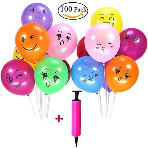 SWZY Emoji Luftballons, Emoji Smiley Party Luftballons Latex Ballons Verschiedene Lustige Deko Zubeh Valentinstag Weihnachten Dekorationen Hochzeit Zimmer Layout, 100 Stück + 1 Ballonpumpe (Farbe)