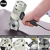 4YANG Taglierina elettrica del tessuto, 90MM 220V elettrico taglierina rotativa tessuto con dispositivo di affilatura automatico Incisione ordinata, senza sbavature, senza rughe