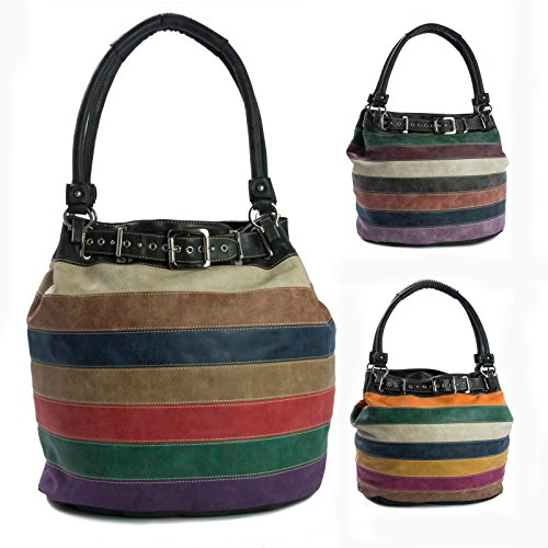 Big Handbag Shop - Hobo borse donna Multicolore (Multi Colours B)