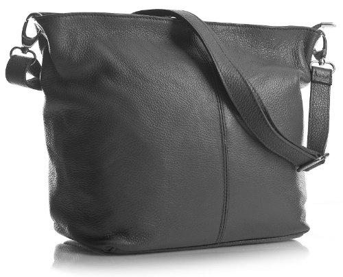 Big Handbag Shop - Borsa a tracolla, da donna, formato medio, in vera pelle italiana Dark Grey