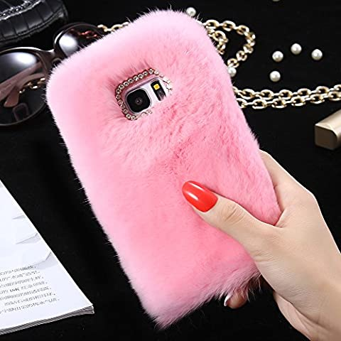 Samsung Galaxy S7 Edge Case, FLOVEME [Imitation Rabbit Hair ] [Washable] [Adorable Case] [Ultra Soft ] Fluffy Villi Faux Fur Plush Protective Phone Cover,Cute Case for Samsung Galaxy S7 Edge,5.5inch - pink