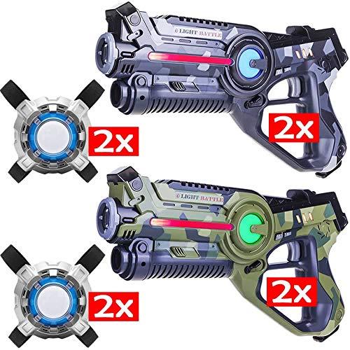 Light Battle Active Laser Game - 4 Pistolets de Jeu Laser (Vert Camo, Gris Camo) + 4X Laser Tag Plastrons - LBAPV24456