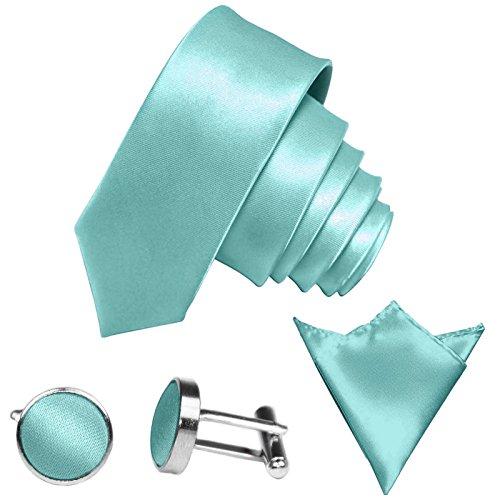 GASSANI 3-SET Krawattenset, 6Cm Schmale Mint-Gruene Herren-Krawatte Dünn Manschettenknöpfe Ein-Stecktuch, Bräutigam Hochzeitskrawatte Glänzend (Und Mint-krawatte Einstecktuch)