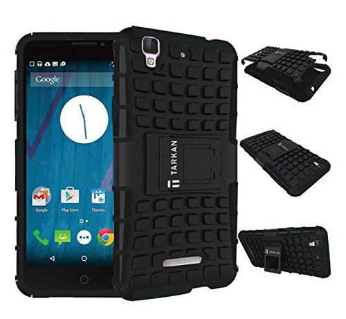 TARKAN Hard Armor Hybrid Rubber Bumper Flip Stand Rugged Back Case Cover For Micromax YU Yureka / Yureka Plus- BLACK