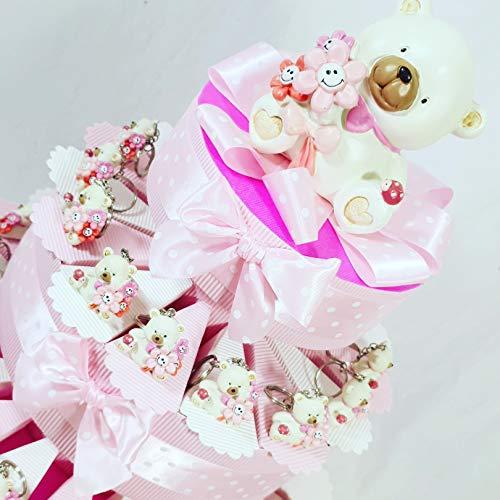 Bomboniere orsetti portachiavi nascita, battesimo bimba confezionati o fai da te a seconda della scelta … (torta 35 fette 3 piani)