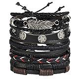 Best Bracelets  Boys - Shining Diva Fashion Black Leather Stylish Bracelet Review