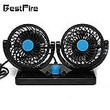 Auto Kfz Lüfter, BestFire Auto Ventilator, Gebläse Klimaanlage Fan, Doppellüfter, vertikal und horizontal einstellbar Ventilator, Leistung 8W/15W, 12V