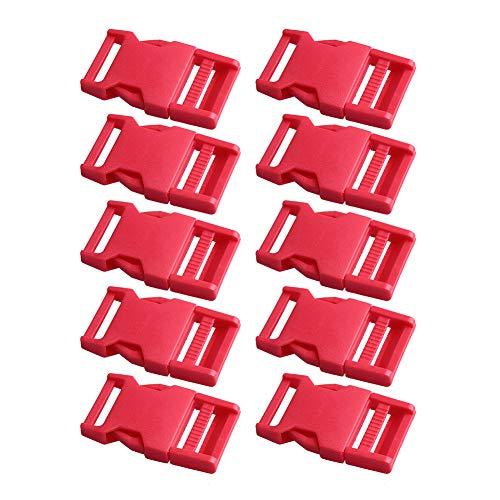 dljztrade Kunststoffverschluss seitlich Schnellverschluss Gurtband verstellbar 25 mm (10 Stück), rot -
