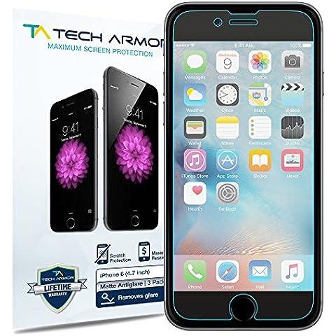 Protectores de Pantalla Anti-Brillo/Anti-Huellas (Mate) [Pack de 3] Tech Armor iPhone 6S / iPhone 6 (4.7 inch ONLY) Garantía de por Vida