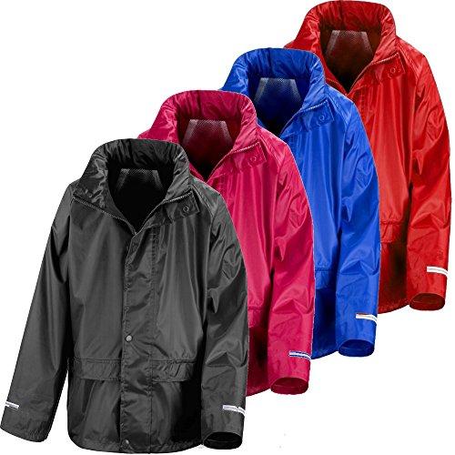 Kids Waterproof Rain Jacket In Black, Pink, Red or Royal Blue Childs Childrens Boys Girls