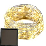 [Updated Version] Solar Patio Lights, 200 Warm White LED Outdoor Starry Fairy Lights,22 m/72 ft Long,Built-in 1200 mAh Rechargable Li Battery,Good Decoration for Balcony Terrace Veranda -- Silver wire