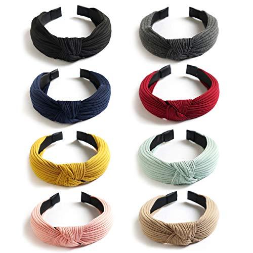 LADES DIRERCT Damen Haarreifen - 10/6/4 Sätze Haarband Frauen Vintage Stirnbänder Twist Knoten Hairband Mit Schleife Wunderschön Stirnband Sport Elastic Turban Haar Zubehör (Style-5) - 1 X Magenta-paket