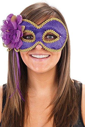 Fancy Me Damen lila gold Blumen Maskenball Mardi Grad Kostüm Kleid Outfit Gesichtsmaske Zubehör - Lila, One size