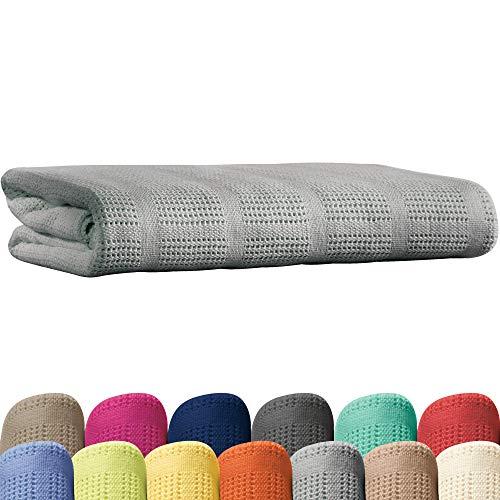 Erwin Müller Sommerdecke, Baumwolldecke - 100% Baumwolle Silber Größe 150x200 cm - atmungsaktiv, weiche Qualität, luftig leicht, hautfreundlich - (weitere Farben, Größen)