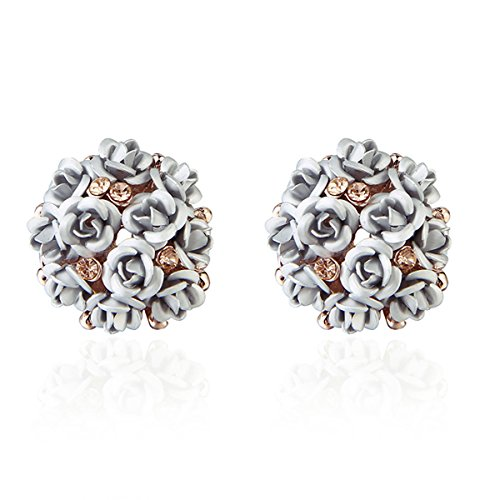 Shining Diva Fashion Grey Floral Gold Plated Copper Stud Earrings for Women(9177er)