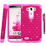 LG G3 Case, LG G3 Bling Case - Style4U LG G3 Studded Rhinestone Crystal Bling Hybrid Armor Case Cover for LG G3 with 1 HD Screen Protector and 1 Stylus [Hot Pink / Hot Pink]