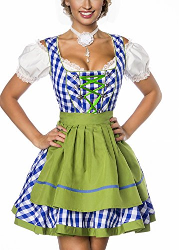 Dirndl Kleid Kostüm mit Schürze Minidirndl mit Karomuster und ausgestelltem Rockteil Oktoberfest Dirndl blau/grün/weiß (Oktoberfest Kostüm Dirndl)