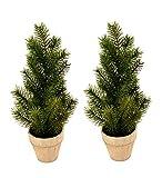 Weihnachtsbaum im Topf für Advent oder Weihnachten ohne Deko grün 40 cm künstlich 2 Stück
