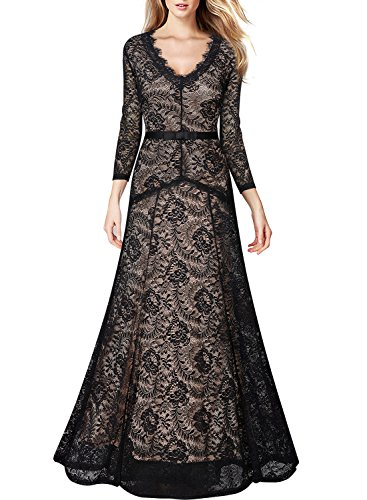 Miusol-Womens-Vintage-Style-Lace-34-Sleeves-V-Neck-Long-Dress